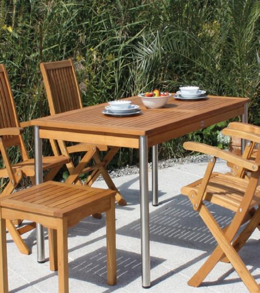 Bari Sessel+Tisch Gruppe Robinienholz