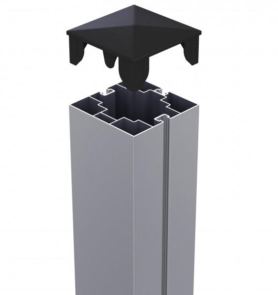 Alu-Pfosten 75/75 mm 1,92m mit Kappe