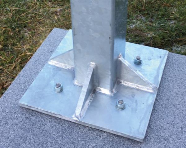 Stahlpfosten verz.KUBUS 10/10 m Platte